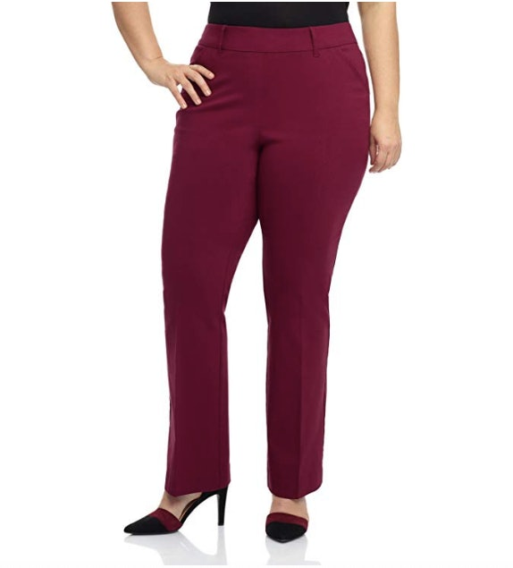 Women/'s Plus Size Black Stretch Slim Fit Trousers With Elasticated Waistband
