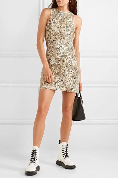 Leopard-Print Denim Mini Dress