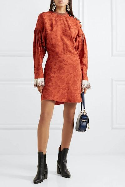 Embroidered Silk Blend-Trimmed Jacquard Mini Dress