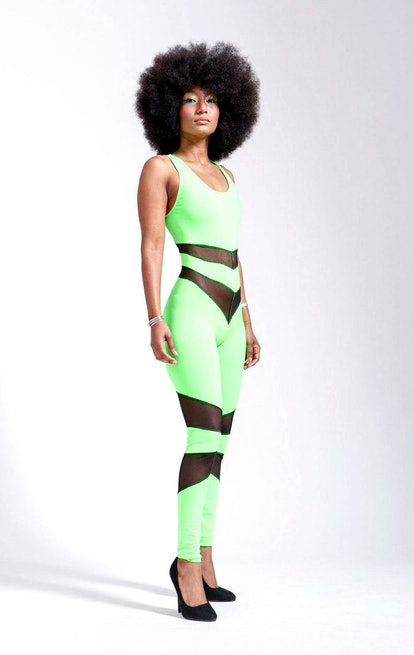 Far Out Neon Green and Black Mesh Portal Suit For Earthbound Star Beings