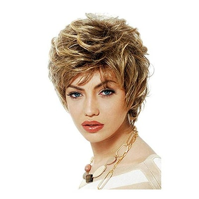 20cm Girls Fashion Short Loose Big Curly Hair Women Cosplay Wig Golden