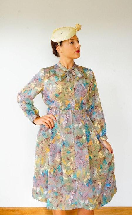 Vintage Floral Print Dress Size M