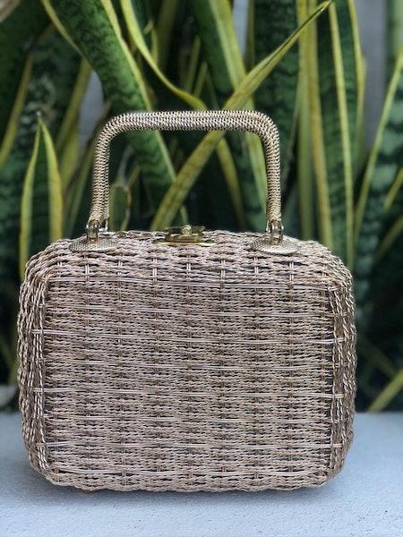 Vintage Rose Gold Wicker Metal Purse Handbag Jill Imports Bag Sophia Petrillo 50s 60s Vtg 1950s