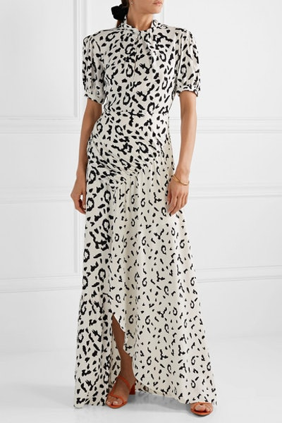 Open-Back Ruched Leopard-Print Jersey Maxi Dress