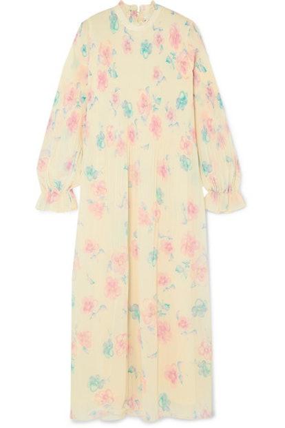 Ruffled Floral-Print Plissé-Georgette Midi Dress