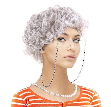 Old Lady Costume Set-Grandmother Wig