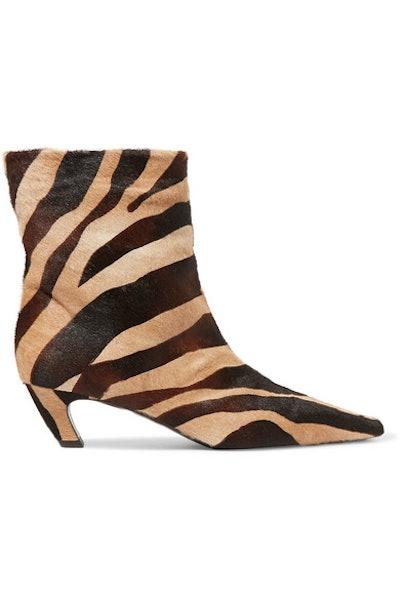 Zebra-Print Calf Hair Ankle Boots