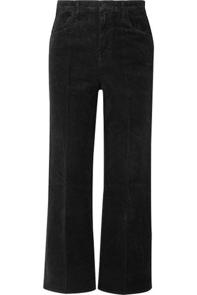 Joan Cropped Cotton-Blend Corduroy Wide-Leg Pants