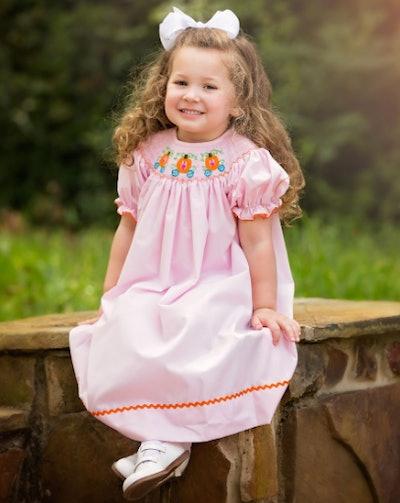 Pumpkin Princess Carriage Smocked Dress