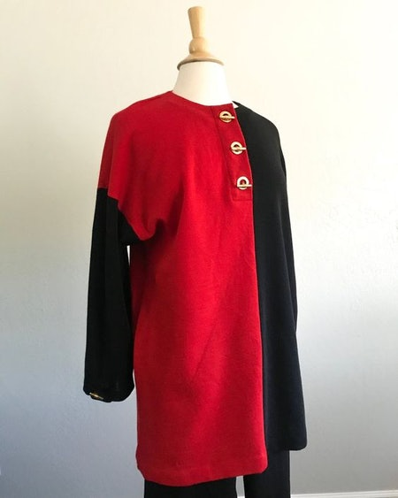 Vintage Anne Klein Knitwwear Outift, Red and Black Merino Wool Tunic and Pants