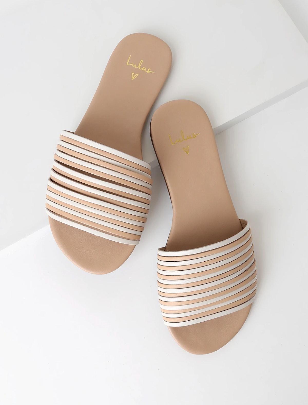 Tamber White & Natural Vachetta Leather Strappy Slide Sandals