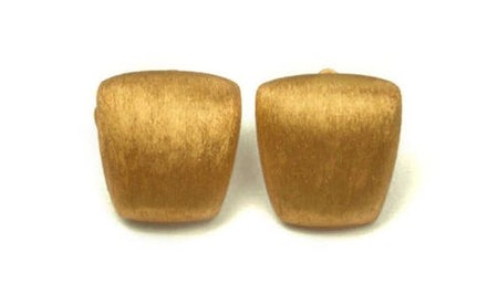 980s Anne Klein Textured Gold Plated Geometric Curved Square Modernist Vintage Clip Earrings