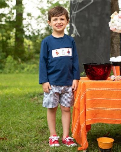 Trick Or Treat Smocked Halloween Shorts Set