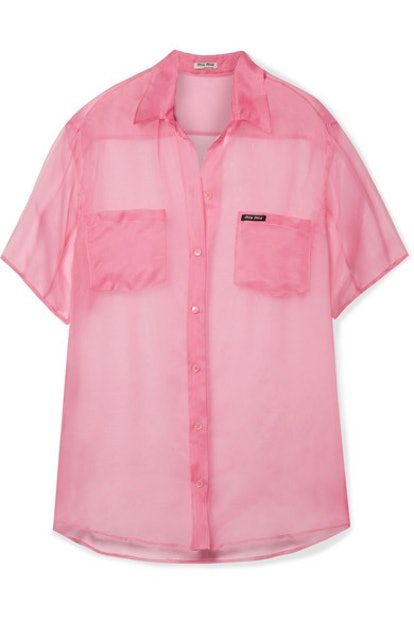 Oversized Silk-Organza Shirt