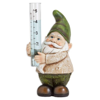 Bits And Pieces Hand-Painted Garden Gnome Rain Gauge