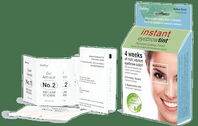 Godefroy Instant Eyebrow Tint, 3 application kit, Medium Brown