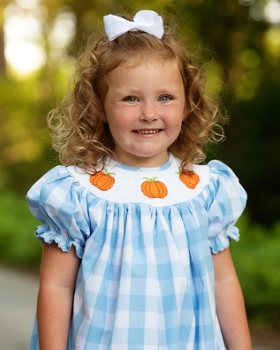 Pumpkins Smocked Blue Buffalo Check Dress