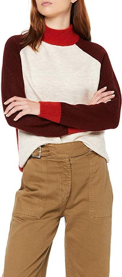 Women's Colorblock Contrast Highneck Oversized Sweater