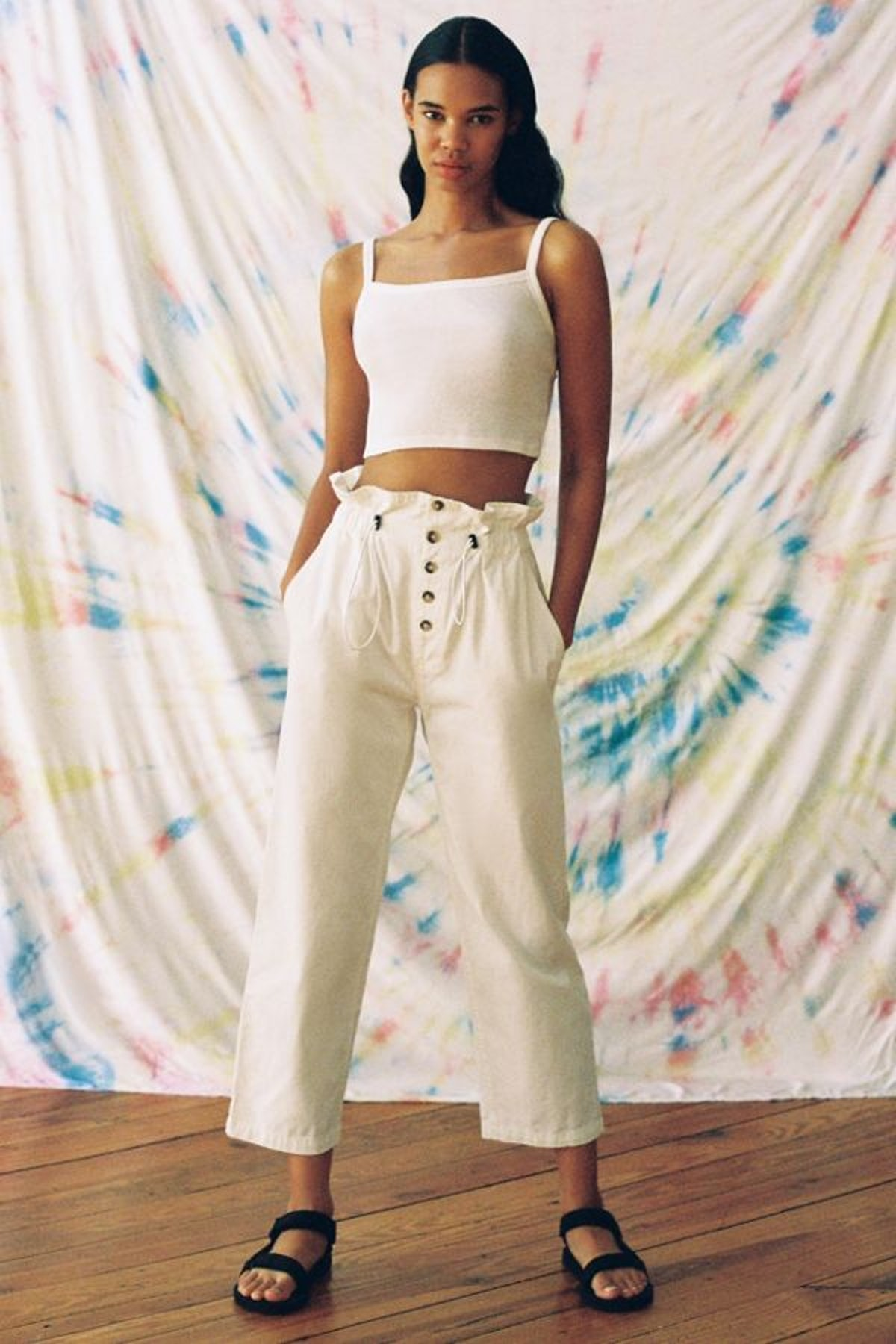 UO Terra High-Waisted Paperbag Pant