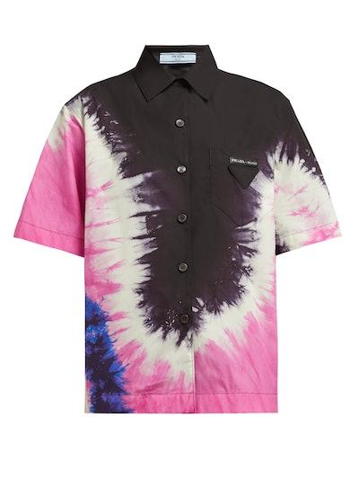 Tie-Dye Collared Cotton-Poplin Shirt
