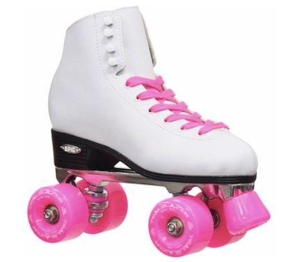 Calssic White & Pink Quad Roller Skate