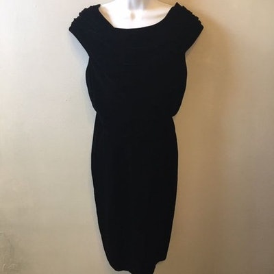 Anne Klein 2 Vintage Little Black Dress Draped Neckline Cocktail Party