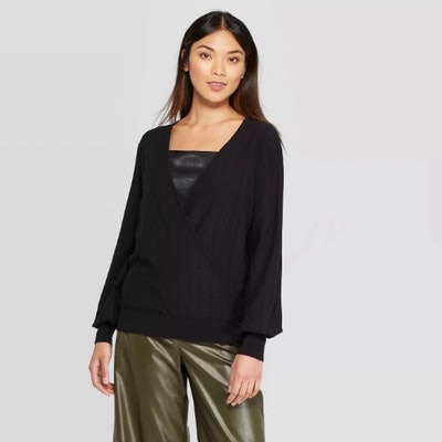 Prologue Long Sleeve V-Neck Wrap Pull Over Sweater