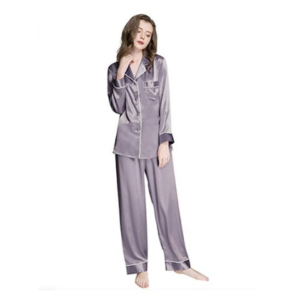Lonxu Womens Silk Satin Pajamas Set
