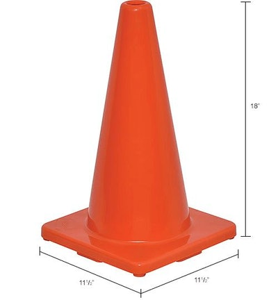 "18"" Traffic Cone, Non-Reflective, Solid Orange Base"