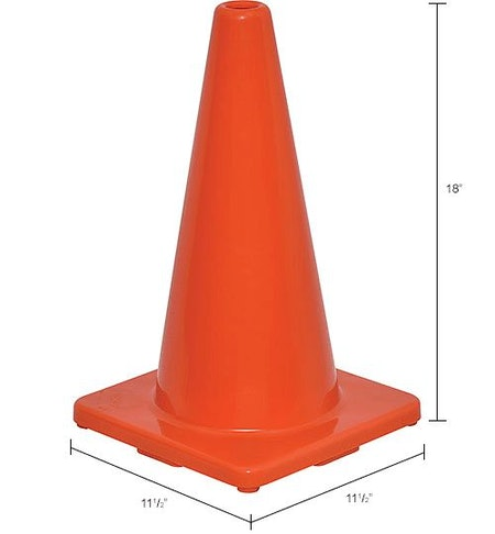 """18"""" Traffic Cone, Non-Reflective, Solid Orange Base"""
