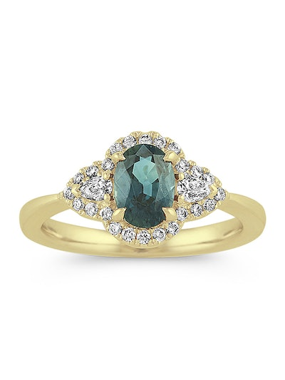 Blue-Green Sapphire and Diamond Ring