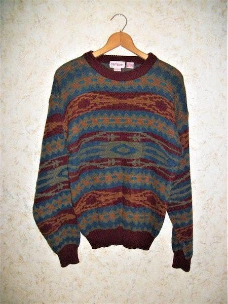 Vintage 80s CAMPUS Crewneck Sweater Pullover Southwestern Design Long Sleeves 1980s Retro