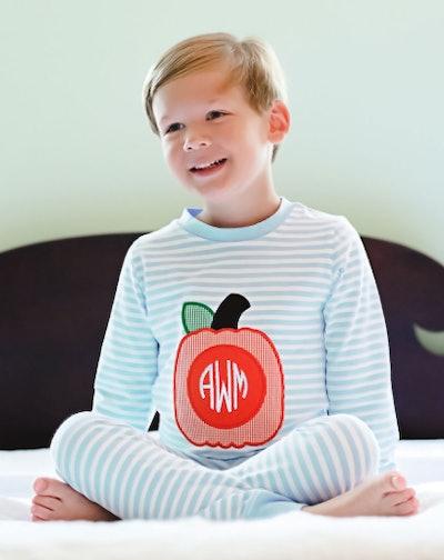 Pumpkin Applique Blue Knit Striped Loungewear