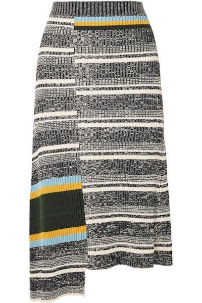 Asymmetric Striped Ribbed Cotton-Blend Midi Skirt