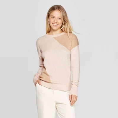 A New Day Colorblock Long Sleeve Rib-Knit Cuff Crewneck Pullover Sweater