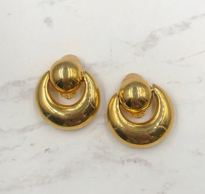 Anne Klein Door Knocker Earrings, Gold Doorknockers, Small Door Knockers, 80s
