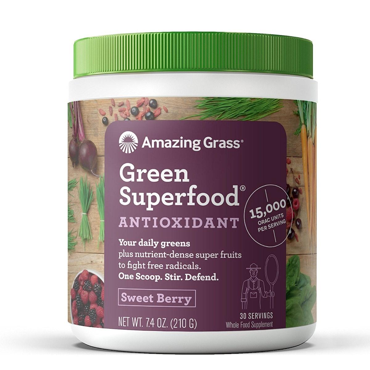 Amazing Grass Antioxidant Green Superfood Powder, Sweet Berry, 30 Servings