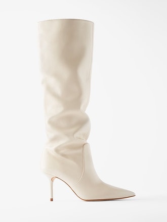 Mid-Height Heeled Leather Boots