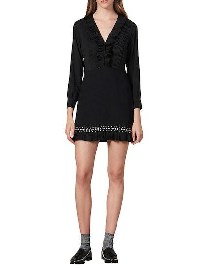 Coreen Ruffle & Stud Detail Long Sleeve Fit & Flare Dress