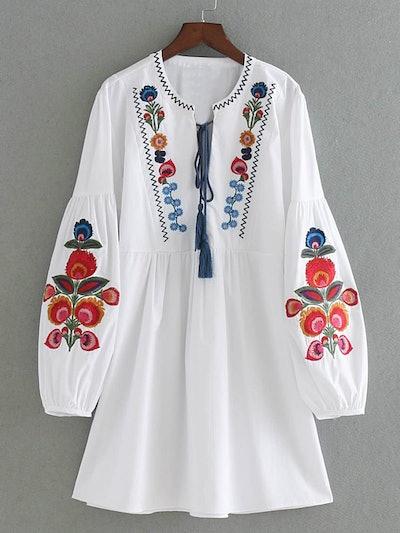 Embroidered Lantern Sleeve Tassel Tie Smock Dress