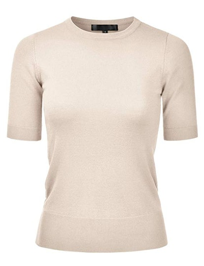 Women's Crewneck 1/2 Sleeve Slim Fit Pullover Knit Sweater Top