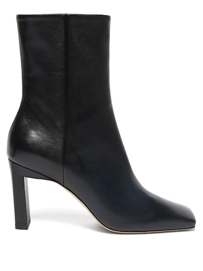 Isa Square-Toe Leather Ankle Boots