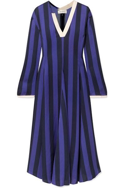 Striped Crepe Midi Dress
