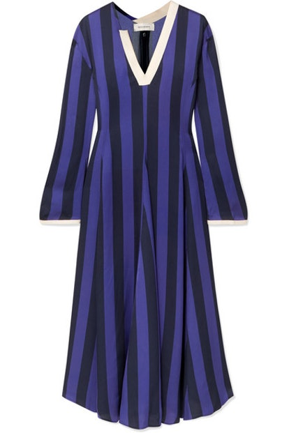 Striped Crepe Midi Dress
