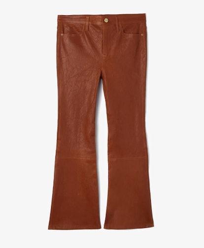 Le-Crop Boot Leg Leather Pants