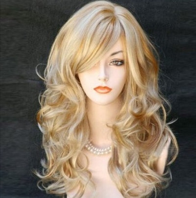 Women's Long Mix Curly Layered Synthetic Blonde Wig