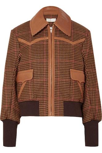 Leather-Trimmed Houndstooth Wool-Blend Bomber Jacket