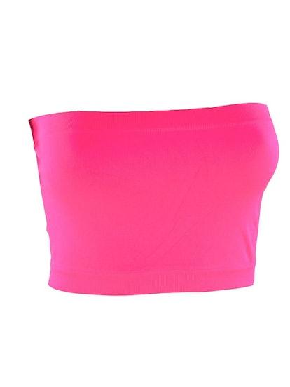 Kathy Women's Strapless Base Bandeau Bra One Size Seamless Layering Tube Top-Pink