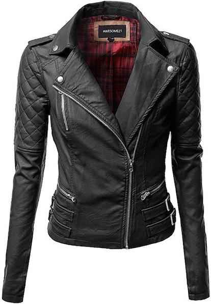 Women's Zipper Motorcycle Biker Faux Leather Jacket