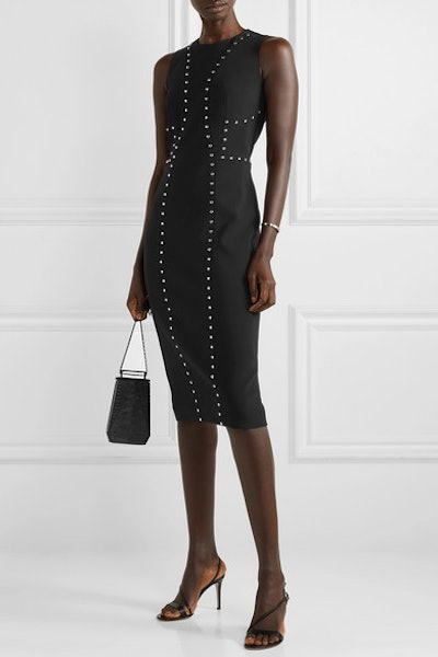 Studded Wool-Blend Crepe Dress